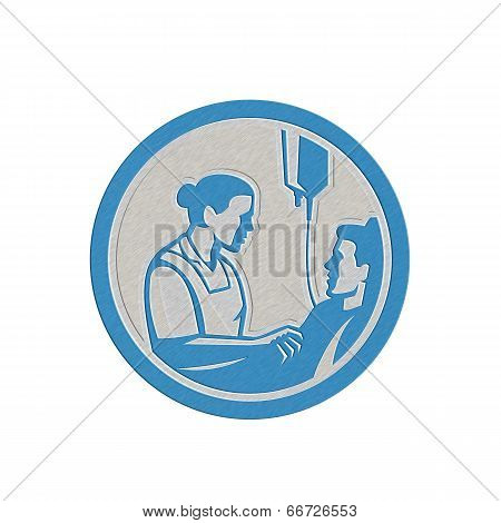 Metallic Nurse Tending Sick Patient Circle Retro