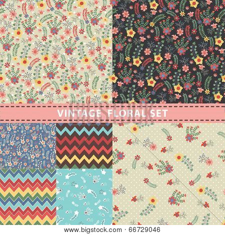 Seamless Pattern Set.flowers, Branches, Berries. Retro Style