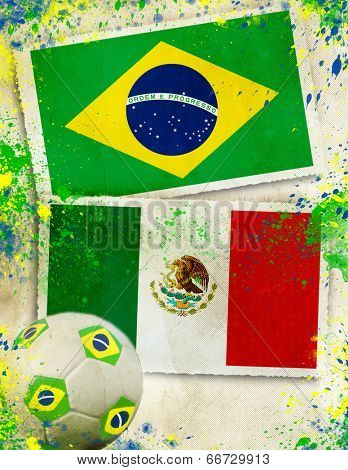 Brazil vs Mexico soccer ball concept