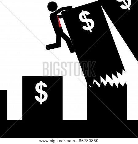 Man falling from graphic