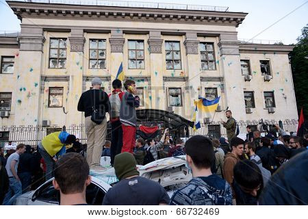 KIEV, UKRAINE - June 14, 2014:  Anti-Putin manifestation in front of the Russian embassy in Kiev