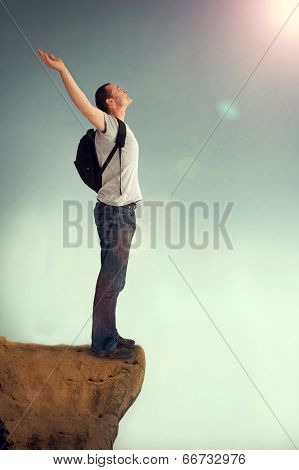 Joyous Man Arms Aloft Giving Praise