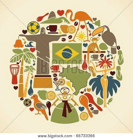 Brazilian icons in the form of a circle