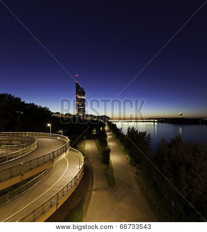Vienna With The Danube River At Night