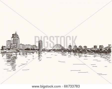 Skyline of Astana city riverside, Hand drawn illustration, Vector sketch.