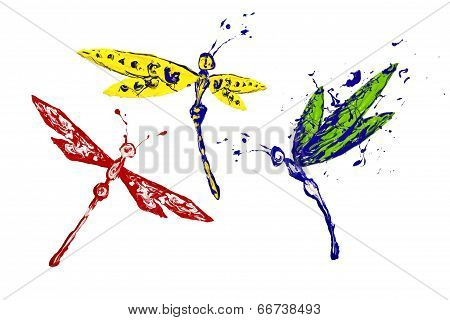 Yellow Blue Red Paint Made Dragonfly Set