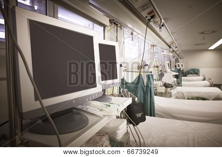 Hospital Emergency Room With Equipment And Beds