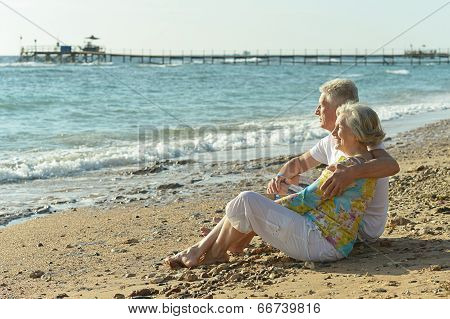 Elderly couple on beach