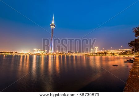 Macau tower, the famous landmark of Macau with the illumination shows