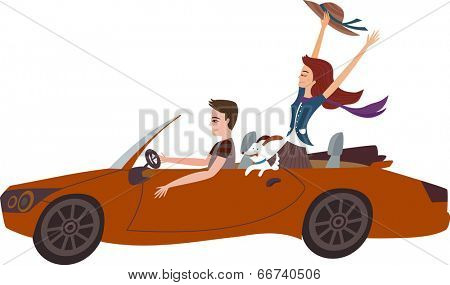 The view of couple in the car
