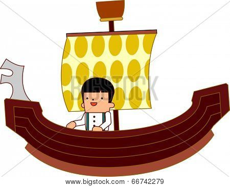 The view of boy on the pirate ship
