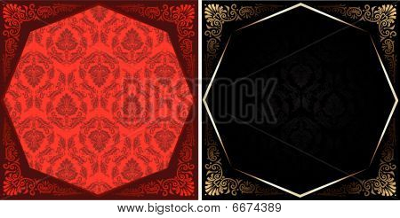 Red Black Gold Various Octagon Ornament