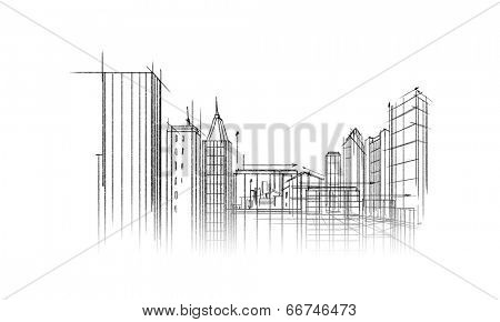 Background image with urban construction pencil sketch