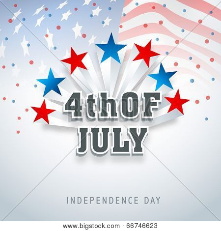 American Independence Day celebrations with colorful stars and stylish text on flag waving background.