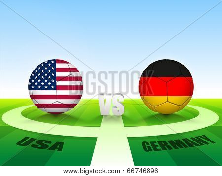Soccer Match U.S.A v/s Germany countries flags for Soccer Competition in Brazil.