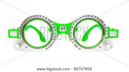Green Spectacles Used For Eyesight Tests Isolated On White Background