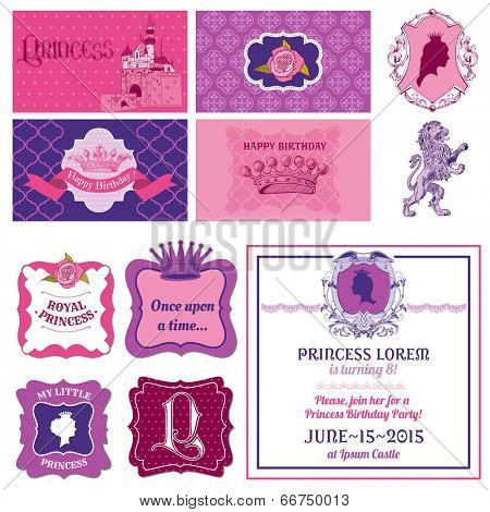 Princess Girl Birthday Set - for Scrapbook, Party Decoration, Birthday - in vector