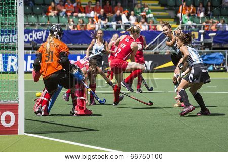 THE HAGUE, NETHERLANDS - JUNE 14: Argentina Field hockey player Luciana Aymar scores 2-1 in the match for third place against Team USA at the Hockey world championships 2014