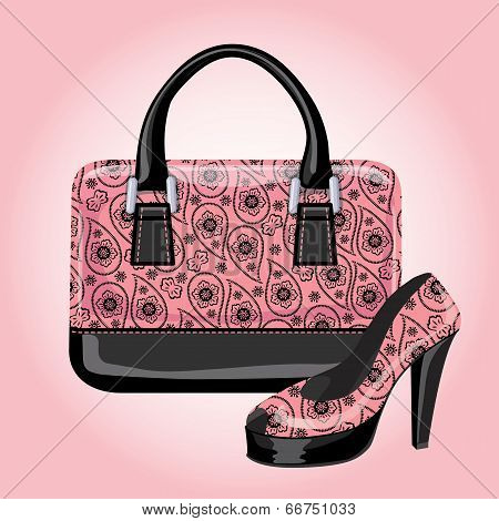 Set Of Women's Handbags With Paisley Ornament