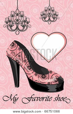 Women's High Heel Shoe And Chandeliers.paisley Ornament
