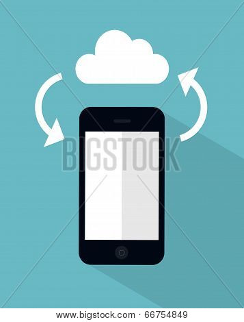 vector cloud sync concept illustration