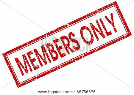 Members Only Red Square Grungy Stamp Isolated On White Background