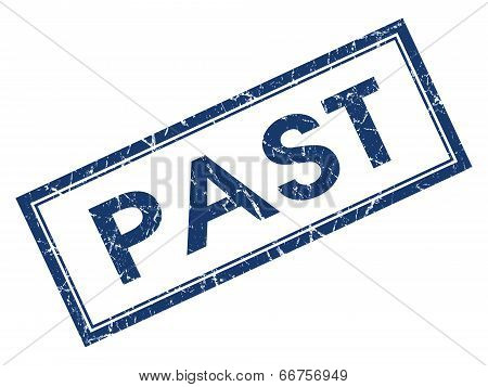 Past Blue Square Grungy Stamp Isolated On White Background