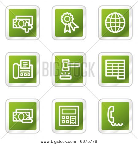 Finance web icons set 2, green square series
