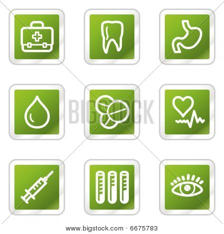 Medicine web icons, green square series