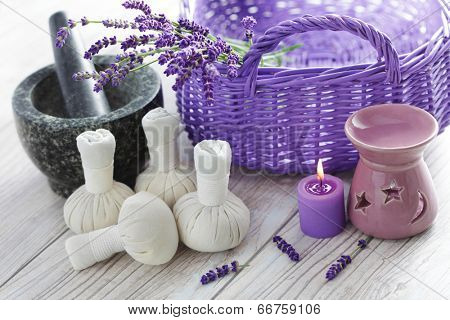 herbal compress balls for spa treatment and lavender - beauty treatment