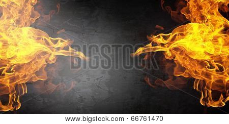 Background image with fire flames on cement wall