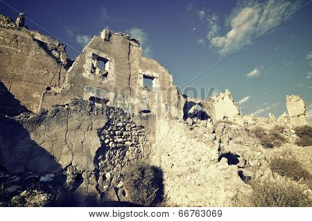 Roden village destroyed in a bombing during the Spanish Civil War, Saragossa, Aragon, Spain
