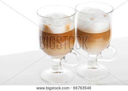 Latte Coffee, Two Mugs With Handles On White Background