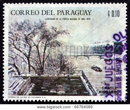 Postage Stamp Paraguay 1968 Winter Scene, By Camille Pissarro