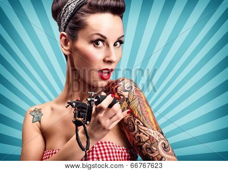 Pin-up Girl With Tattoos