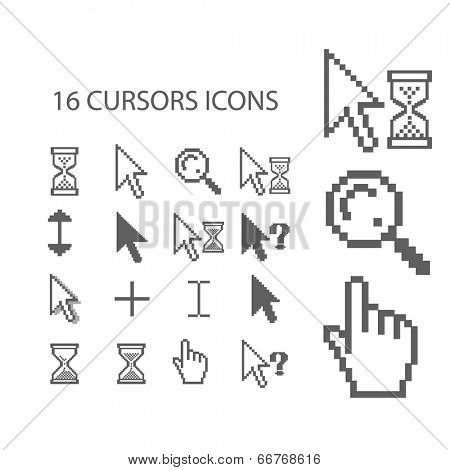 16 cursors, mouse, hand, arrow, click icons, signs set, vector