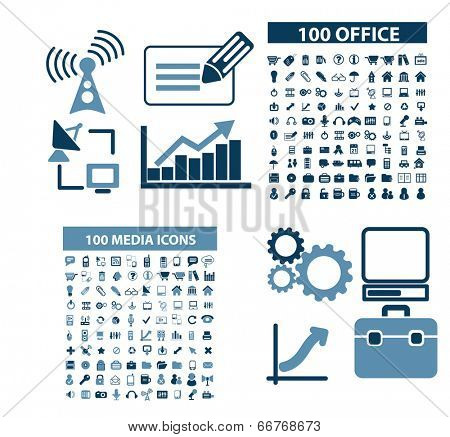 web office, document, business, analytics, finance, bank icons, signs set, vector