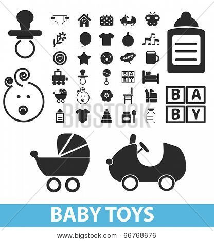 baby toys, children icons, signs set, vector