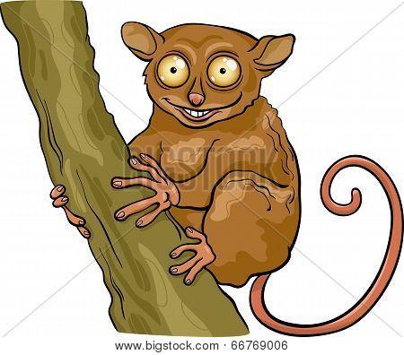 Tarsier Animal Cartoon Illustration