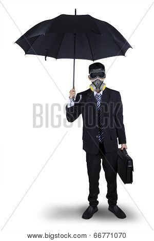 Businessman Wearing A Gas Mask Isolated