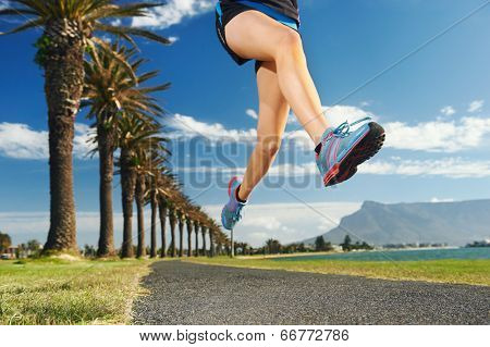 Woman running for fitness marathon exercise training