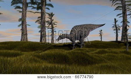 saurolophus dinosaurus grazing