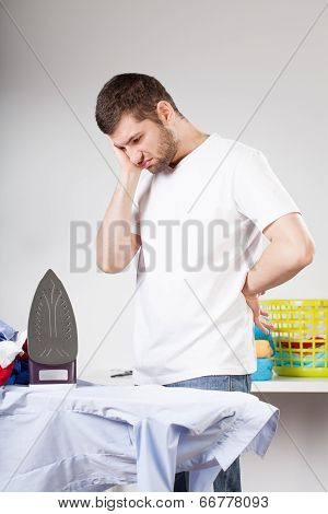 Clumsy Man Left With Ironing
