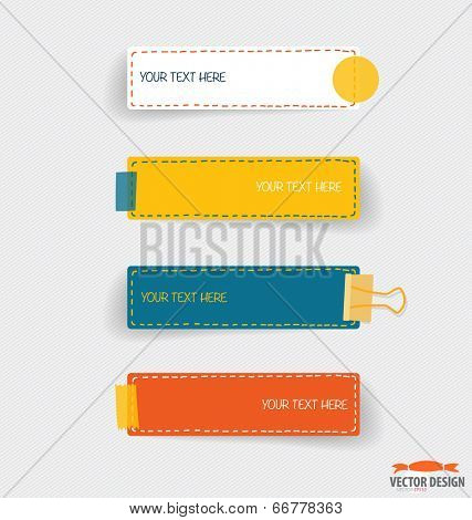 Cute note papers, Business working elements for web design , mobile applications, social networks. Modern Flat design vector illustration concept.