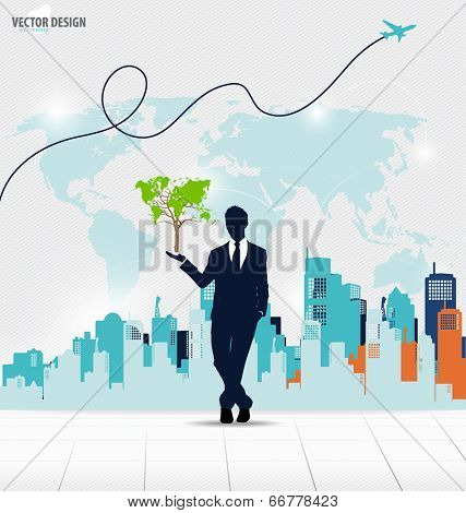 Businessman showing Tree shaped world map. Vector illustration.