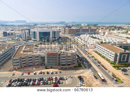 DUBAI, UAE - MARCH 30: Technology park of Dubai Internet City on March 30, 2014, UAE. Dubai Internet City is created by the government  free economic zone for global information technology firms.