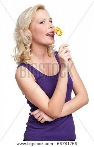 Woman licking round lollypop, isolated on white