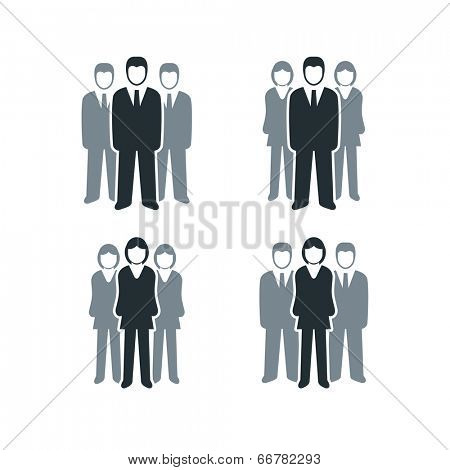 Vector isolated business people icon collection. Leadership of men and women .