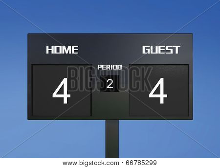 Soccer Scoreboard Score 4 & 4