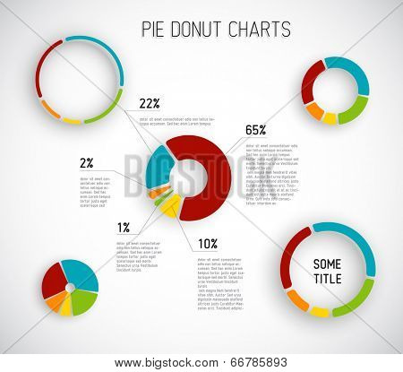 Colorful Vector pie chart templates for your reports, infographics, posters and websites